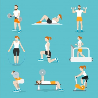 people-training-exercise-bikes-and-cardio-fitness-treadmills-with-bench-press-icons-collection-flat-isolated-vector-illustration_1284-2572